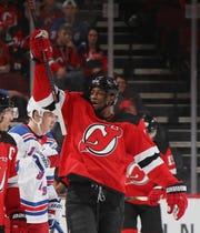 Wayne Simmonds #17 of the New Jersey Devils skates against the New York Rangers at the Prudential Center on September 20, 2019 in Newark, New Jersey.