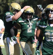 Audric Estime of St. Joseph after scoring a TD in the first half against DePaul during their game in Montvale on September 21, 2019.