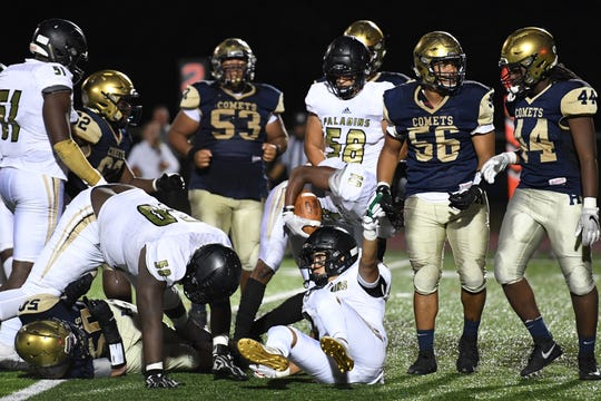 Paramus Catholic football at Hackensack on Friday, September 20, 2019. PC recovers a fumble in the third quarter.