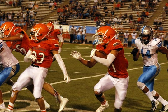 Highlights from the first half of the Artesia Bulldogs vs. Rio Rancho Cleveland Storm game on Sept. 20, 2019 at the Bulldog Bowl in Artesia.