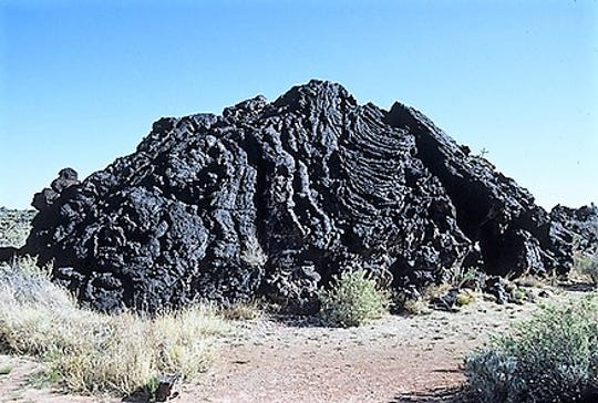 This mound of cooled lava is an example of a pahoehoe flow.
