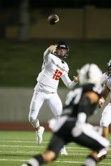 Palm Desert quarterback Garrett Hayden throws a first-half pass against Permian (Texas) in high school football Sept. 20, 2019, in Odessa, Texas.