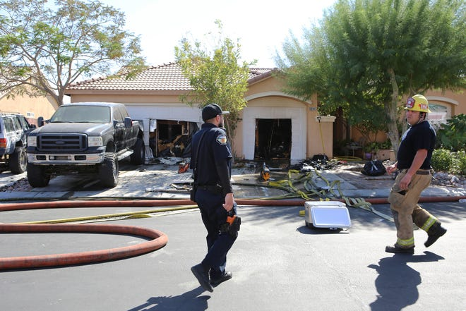 First responders on scene at 83-141 Long Cove Drive in Indio, Calif., on Saturday, September 21, 2019.