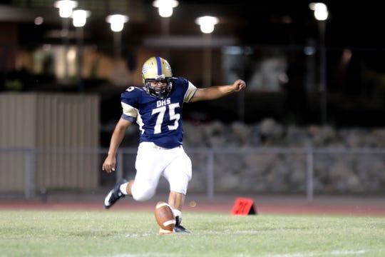 Edgar Lopez kicks a field goal in a game vs. Desert Mirage on Friday, September 20, 2019 in Desert Hot Springs, Calif.