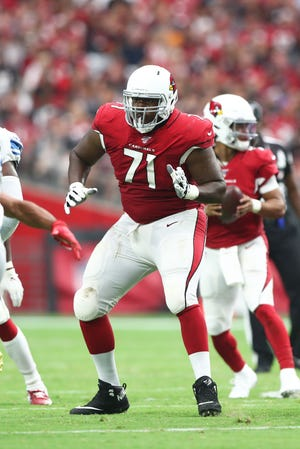 Sep 8, 2019: Arizona Cardinals offensive tackle Justin Murray (71) against the Detroit Lions at State Farm Stadium.