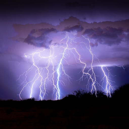 Lightning storm greets the valley.
