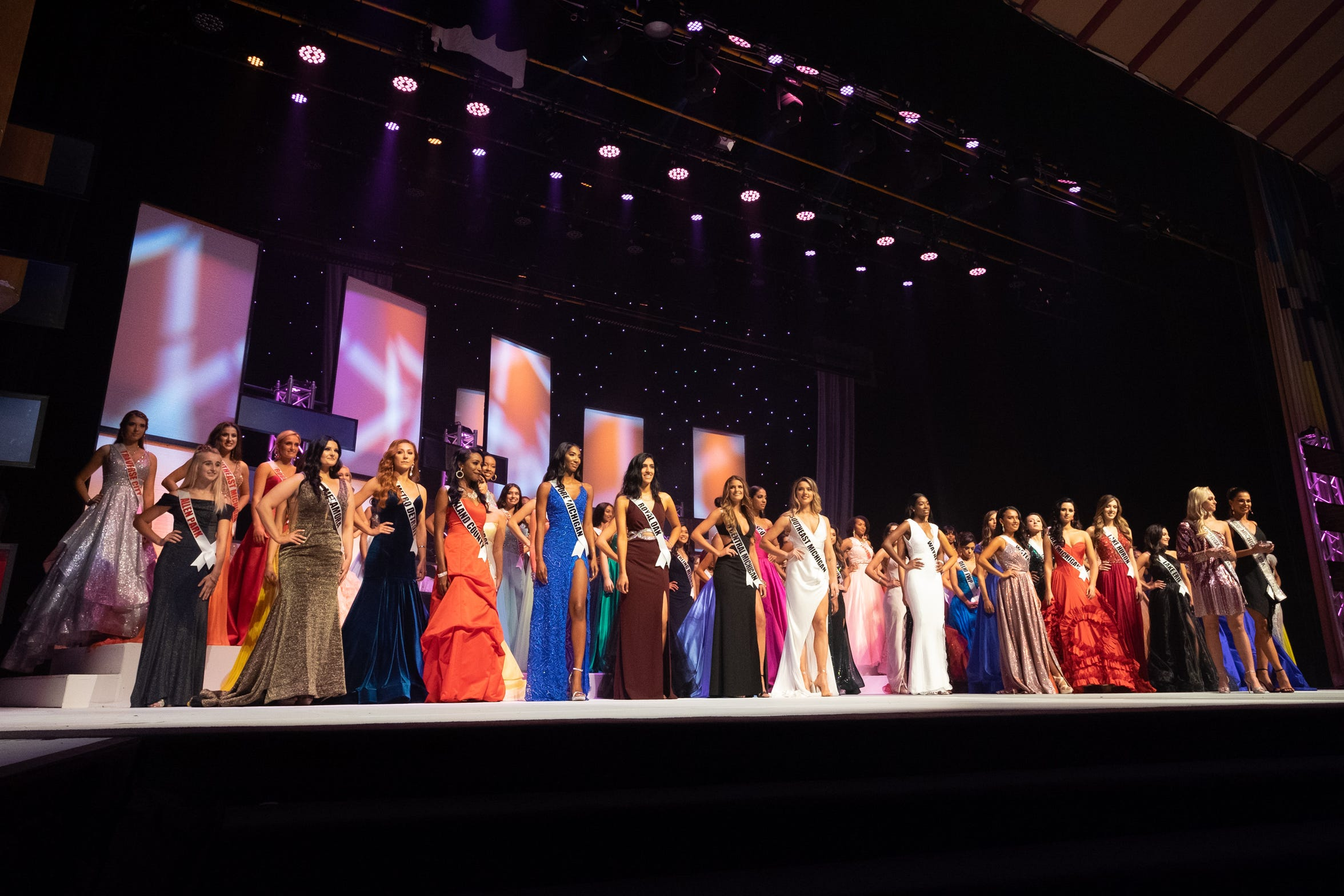The full group of Miss and Miss Teen Michigan contestants take the stage at McMorran Theater Saturday, Sept. 21, 2019, during the Miss Michigan USA and Miss Michigan Teen USA competitions.