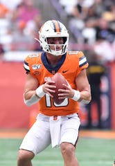 Syracuse quarterback Tommy DeVito has thrown four touchdown passes in each of his last two games. The Orange are at North Carolina State on Thursday night.