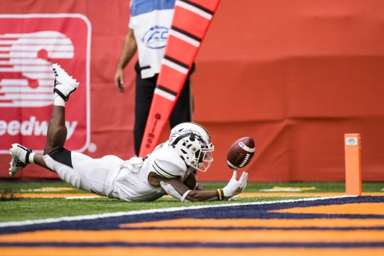 SYRACUSE, NY - SEPTEMBER 21:  LeVante Bellamy #2 of the Western Michigan Broncos fumbles the ball short of the goal line for a Syracuse Orange touchback during the first quarter at the Carrier Dome on September 21, 2019 in Syracuse, New York.  (Photo by Brett Carlsen/Getty Images)