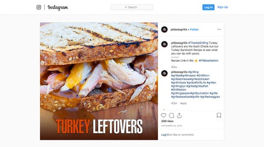 This screen capture from the Pit Boss Grills Instagram account shows the turkey sandwich Dansons admits it posted to social media after Traeger Grills posted a picture of a turkey sandwich.