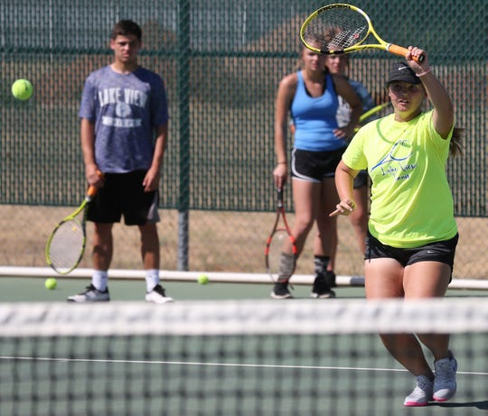 San Angelo Lake View High School's Madison Goetz hits a shot during practice Thursday, Sept. 19, 2019.