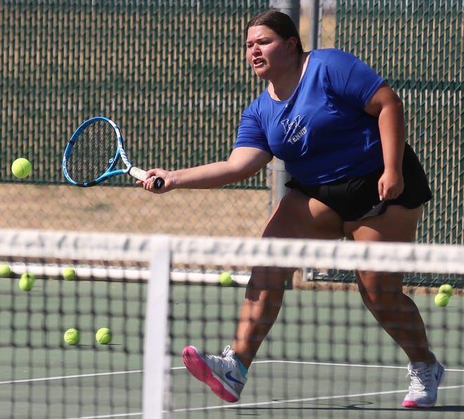 San Angelo Lake View High School's Alyssa Lechuga hits a volley during practice Thursday, Sept. 19, 2019.