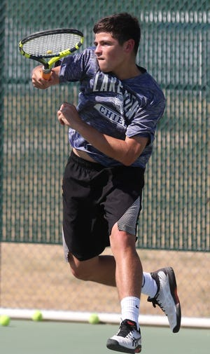 San Angelo Lake View High School's Eric Perez rips a forehand during practice Thursday, Sept. 19, 2019.