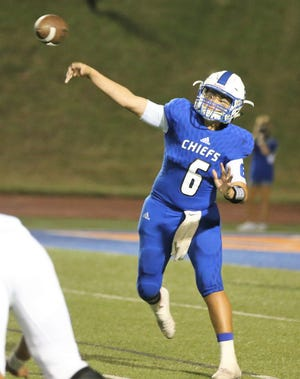 Lake View High School quarterback Albert Rodriguez fires a pass during the Chiefs' homecoming game against Fort Stockton at San Angelo Stadium Friday, Sept. 20, 2019.