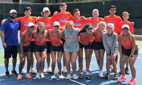 The San Angelo Central High School tennis team defeated Euless Trinity 18-1 at home Friday to improve to 5-0 in District 3-6A. The Bobcats will host Abilene High for the 3-6A title Tuesday afternoon.