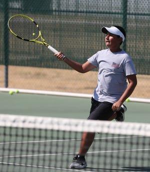 San Angelo Lake View High School's Luke Hartin hits a shot during practice Thursday, Sept. 19, 2019.