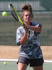 San Angelo Lake View High School's Montana Dyer hits a shot during practice Thursday, Sept. 19, 2019.