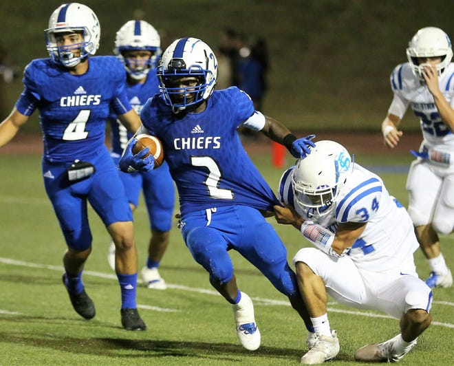 Lake View High School's Austin Bandy looks to break a tackle on a return against Fort Stockton during the Chiefs' homecoming game at San Angelo Stadium Friday, Sept. 20, 2019.