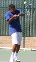 San Angelo Lake View High School's Jeremy Ybarra hits a two-handed backhand during practice Thursday, Sept. 19, 2019.