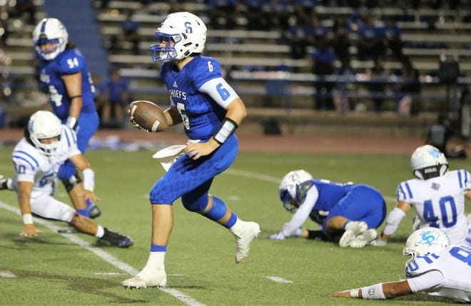 Lake View High School quarterback Albert Rodriguez looks for an open receiver during the Chiefs' homecoming game against Fort Stockton at San Angelo Stadium, Friday, Sept. 20, 2019.