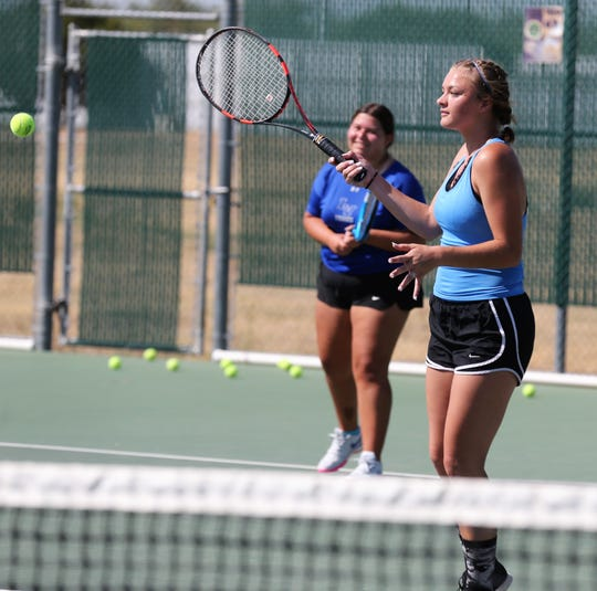 San Angelo Lake View High School's Shaye Price hits a forehand during practice Thursday, Sept. 19, 2019.