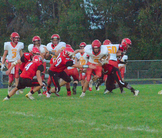 Avon's Kory DeJong tries to break through the St. Mary line on Friday, Sept. 20 in Dell Rapids.