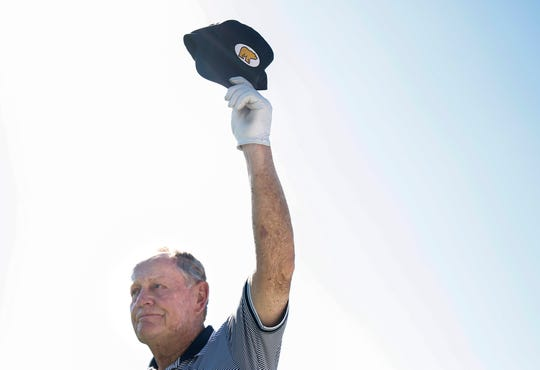 Jack Nicklaus tips his hat to the crowd after being honored at the Sanford International on Saturday, Sept. 21, 2019.
