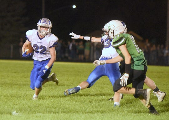 Bridgewater-Emery/Ethan's Jonah Hofer carries the ball against McCook Central/Montrose on Friday, Sept. 20, in Salem.