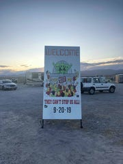 A sign welcomes visitors to the Storm Area 51 event in Rachel, Nevada.