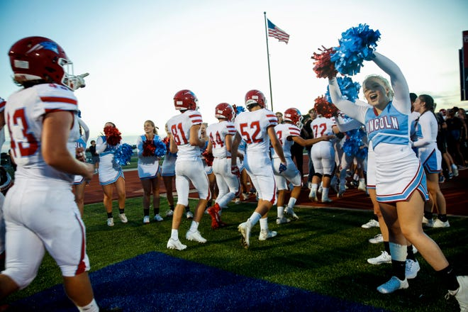 Lincoln celebrates a win against O'Gorman on Friday, Sept. 20, 2019. Lincoln won with a score of 48-23.