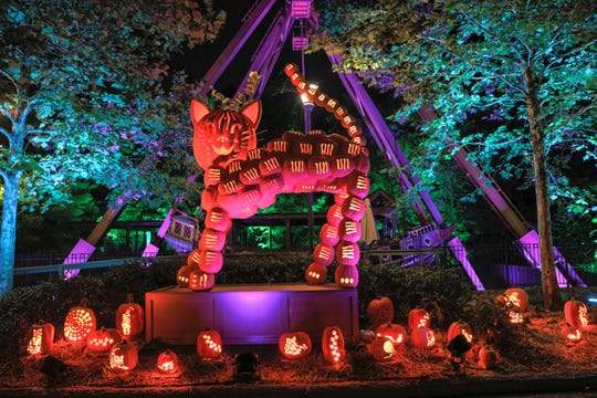 More than 10,000 pumpkins (both real and artificial) add splashes of color during Craft Days and Pumpkin Nights at Silver Dollar City's new Harvest Festival.