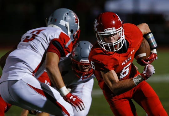 Ozark Tigers running back Ethan Pritchard Carris the ball during a game against the Nixa Eagles on Friday, Sept. 20, 2019.