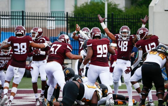 The Missouri State Bears react to recovering a fumble on the one yard line during a game against Kennesaw State at Plaster Field on Saturday, Sept. 21, 2019.