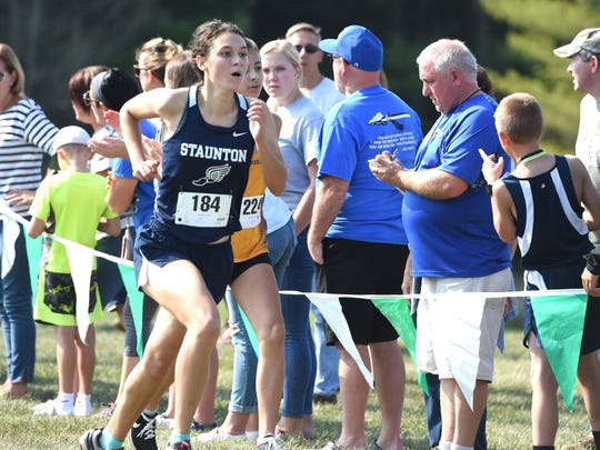 Staunton's Abby Tenney races to the finish at this year's Augusta County Cross Country Invitational in Fishersville.