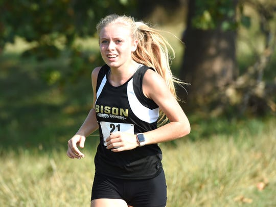 Buffalo Gap senior Annika Fisher won the individual girls championship at the Augusta County Cross Country Invitational this fall.
