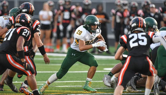 Tayton Philavanh rushed with the ball for Sauk Rapids during the first half of the game Friday, Sept. 20 , 2019, at Tech High School in St. Cloud.