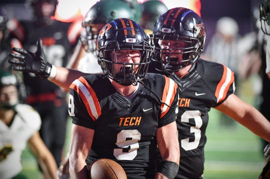 Troy Feddema celebrates a touchdown for Tech during the first half of the game Friday, Sept. 20 , 2019, at Tech High School in St. Cloud.