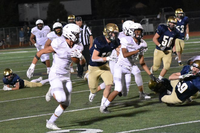 Pine View's Daylor Rymer (7) caught a touchdown and nabbed two interceptions against Snow Canyon last Friday night.