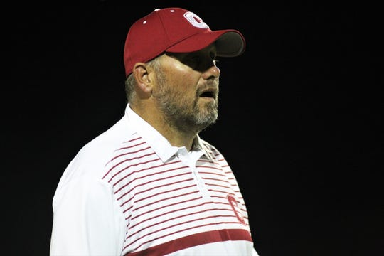 Chiles football coach Kevin Pettis calls out instructions as Chiles beat Leon 37-20 on Friday, Sept. 20, 2019.