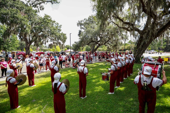 Fans arrived early to tailgate and prepare for Florida State's home football game against Louisville on Saturday, September 21.
