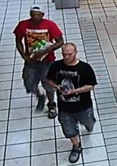 Police say these two men are suspects in the burglary of a Cricket Wireless cellphone kiosk Sept. 6, 2019, at Bassett Place.
