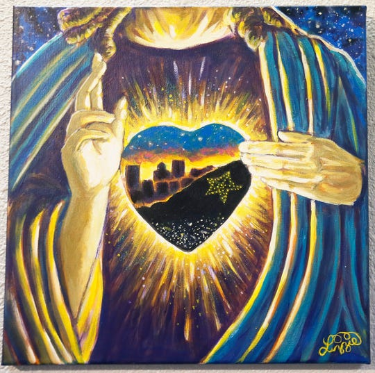 """In My Heart Series"" Sacred Heart of El Paso,"" by Lizzie Ochoa, is shown at the El Paso Art Association's ""Fresh Faces! El Paso Strong!"" exhibit Friday, Sept. 20, 2019, at Crossland Gallery in El Paso."