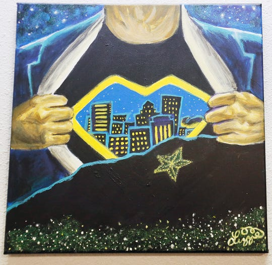 """El Paso Strong Forever,"" by Lizzie Ochoa, is shown at the El Paso Art Association's ""Fresh Faces! El Paso Strong!"" exhibit Friday, Sept. 20, 2019, at the Crossland Gallery in El Paso."