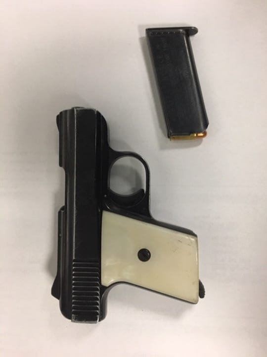 A firearm seized during a search warrant in Santa Paula on Wednesday.