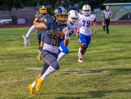 Korey Stevens ran for two touchdowns to help Nordhoff open Citrus Coast League play with a 45-7 win at Carpinteria on Friday night.