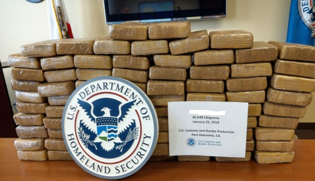 Authorities seized 204 pounds of cocaine during a vessel search at the Port of Hueneme on Jan. 22.