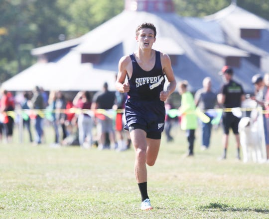 Suffern's Jack Balk runs the Suffern Cross-Country Invitational held at Bear Mountain State Park in Stony Point on Saturday, September 21, 2019.