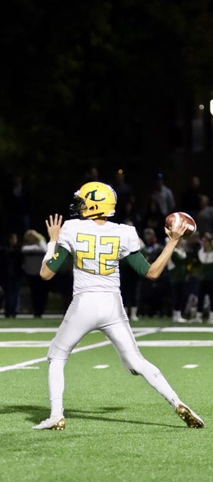 Lakeland quarterback Tyler Santucci delivers a pass during a game against Beacon at Beacon High School on Friday, September 21, 2019.