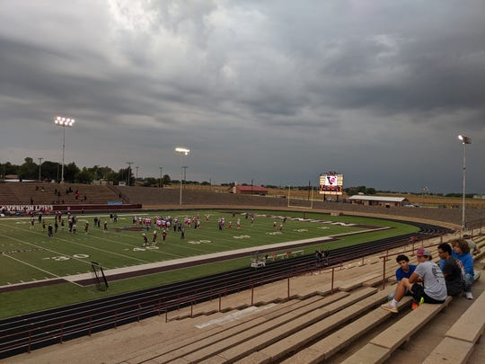Vernon and Hirschi warm up before the non-district matchup was cancelled because of weather Friday, Sept. 20, 2019, in Vernon.