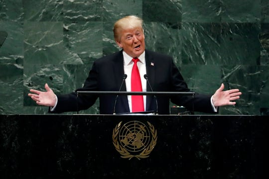 President Donald Trump addresses the 73rd session of the United Nations General Assembly, on Sept. 25, 2018.